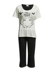 Pyjamas with 3/4 buks - White/Black