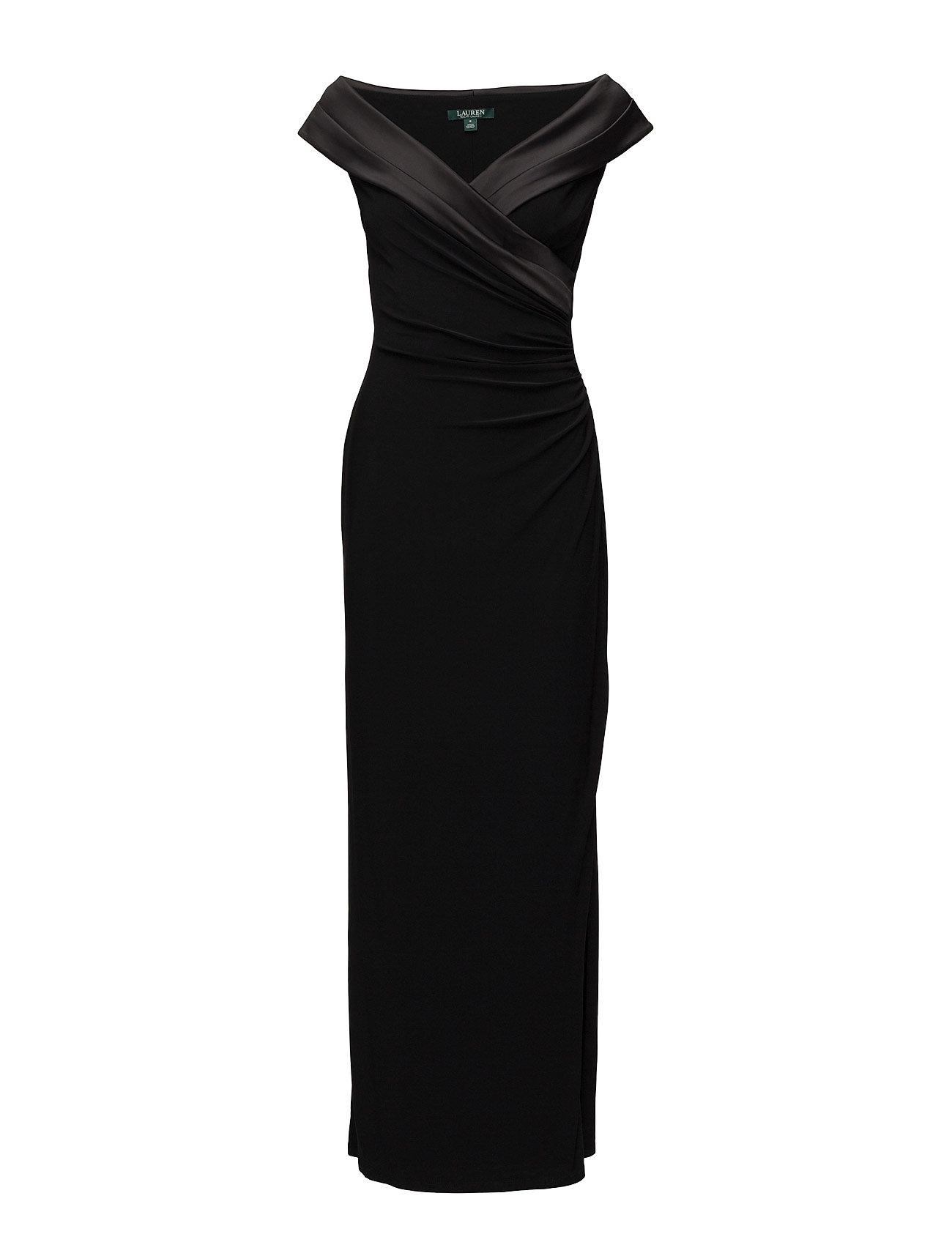 Lauren Ralph Lauren Satin-Neckline Jersey Gown