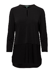 Keyhole Jersey Top - BLACK