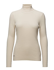 STRETCH COTTON MODL-L/S TURTLE NECK - NATURAL