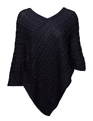 Cotton-Blend Poncho Sweater - RL NAVY