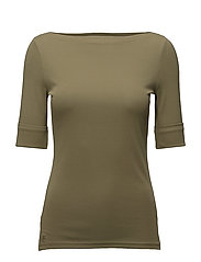 Stretch Cotton Boatneck Top - AUTUMN SAGE