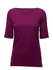Stretch Cotton Boatneck Top - BERRY JAM