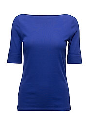 Stretch Cotton Boatneck Top - EMPRESS BLUE