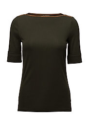 Stretch Jersey Boatneck Top - DEEP FOREST GREEN