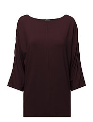 Lace-Trim Jersey Top - RED SANGRIA