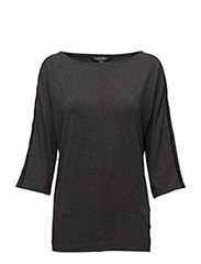 Lace-Trim Jersey Top - DARK GENTS HEATHER