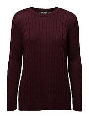 Monogram Cable-Knit Sweater - RED SANGRIA
