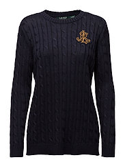 Bullion-Patch Cable Sweater - RL NAVY