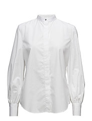 Bishop-Sleeve Cotton Shirt - WHITE