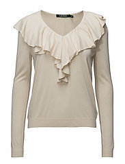 Ruffled-Overlay V-Neck Sweater - NATURAL