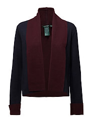 Open-Front Cardigan - RL NAVY/RED SANGR