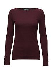 Button-Shoulder T-shirt - RED SANGRIA