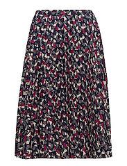 Pleated Crepe A-Line Skirt - MULTI