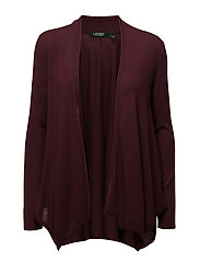 Silk-Blend Open-Front Cardigan - RED SANGRIA