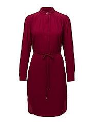 TRIPLE GEORGETTE-LS SPLITNECK DRESS - CARMINE RED