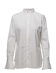 Poplin Flutter-Sleeve Shirt - WHITE