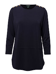 MATTE POLY JERSEY-3/4 SLV TOP - RL NAVY