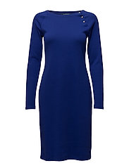 Button-Trim Cotton Dress - EMPRESS BLUE