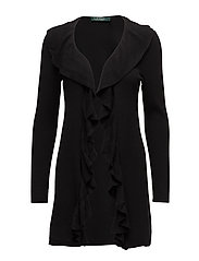 Ruffled Open-Front Cardigan - POLO BLACK