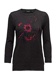Embroidered Cotton Sweater - DARK GENTS HEATHER