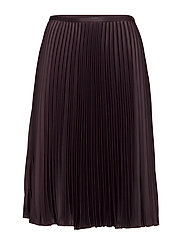 SATIN CREPE-PLEATED SKIRT - RED SANGRIA