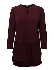 Keyhole Jersey Top - RED SANGRIA