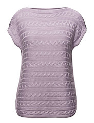 Cable Short-Sleeve Sweater - FRESH ORCHID