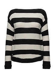 GASSED COTTON-L/S BT NK PULLOVER - POLO BLACK/MASCAR
