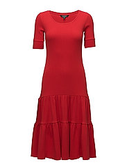 GIRLS WAFFLE-ELBOW SLV DRESS - TOMATO RED
