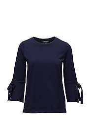 LT WT PLAIT CTN JSY-3/4 SLV TOP - NAVY