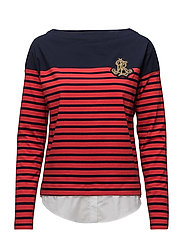 LT WT PLAIT CTN JSY-LS TOP - TOMATO RED/NAVY