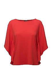 STR MATTE JERSEY-FLUTTER SLV TOP - TOMATO RED