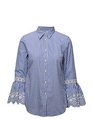 Y/D BENGAL STRIPE-LS SHIRT W/ EMB - BLUE/WHITE