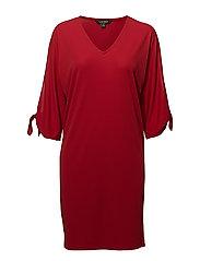 Self-Tie Jersey Dress - LIPSTICK RED