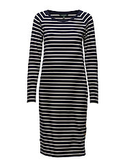LT WT ST PIMA MODAL-DRESS - NAVY/MASCARPONE C