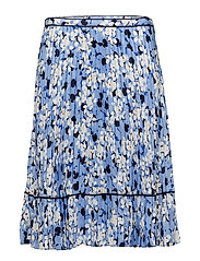MATTE CHARMEUSE-PLEATED SKIRT - BLUE MULTI