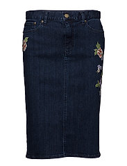 Embroidered Denim Skirt - PACIFIC INDIGO WA