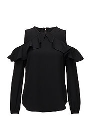 TRIPLE GEORGETTE-LS CLD SHLDR TOP - POLO BLACK