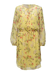 Floral Crinkle Georgette Dress - YELLOW MULTI