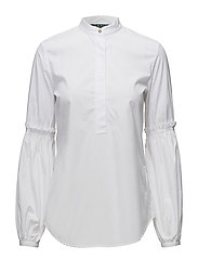 Broadcloth Bishop-Sleeve Shirt - WHITE
