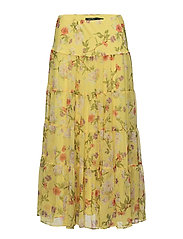 Floral Georgette Maxiskirt - YELLOW MULTI