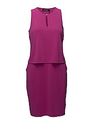 Front Keyhole Jersey Dress - SPRING BEGONIA