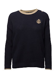 GASSED COTTON/LUREX-L/S CREWNECK - NAVY/GOLD