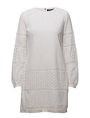 FLORAL EYELET-LS DRESS - WHITE