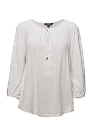 Crinkled Cotton Blend Top - WHITE