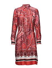 Print Twill Shirtdress - RED MULTI