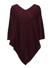 BRT RYN PLTD COTTON-PONCHO - RED SANGRIA