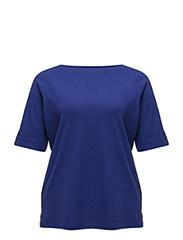 Stretch Cotton Boatneck Top - EMPRESS BLUE