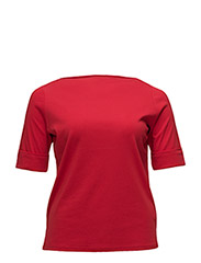 Stretch Cotton Boatneck Top - LIPSTICK RED